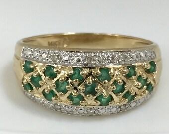 14K Yellow Gold Emerald & Diamond Cigar Band Ring Size 9 #SS44