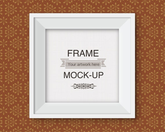 Square frame mockup, funky wallpaper background, simple white frame ...