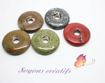 Set 5 bead 34mm mixed colors - design jewelry - round ceramic