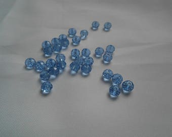 set of 10 blue 6x4mm faceted Crystal beads