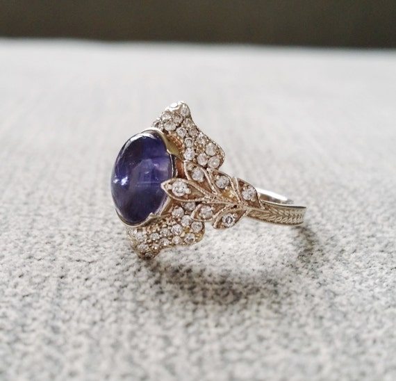 vintag cabochon vintage products trumpet horn rings engagement ring sapphire wingate from