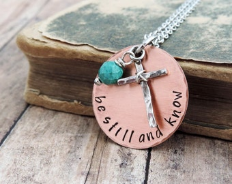 Be Still and Know Necklace - Christian Jewelry - Scripture Necklace - Bible Verse Jewelry - Inspirational Gift - Psalm 46:10 - Cross Jewelry
