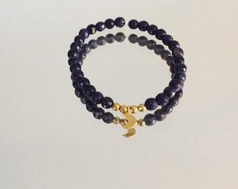 Midnight blue sandstone moon bracelet