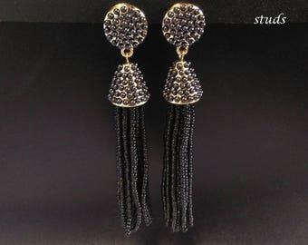 Stud Earrings Tassel Style: Fashion Gold & Black Long Tassel Stud Earrings   Studs, Tassel Earrings, Fashion Earrings, Gifts for Women 414