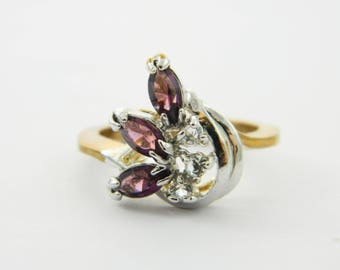 Vintage Yellow & White Gold Amethyst Triple Marquise Ring - Size 5 Ring - VPE202