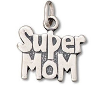 Sterling Silver 11x14mm Super Mom Charm (sku 2580 - CHSS-FA-M)