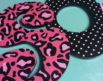 Custom Decorated Wooden Letters - Pink and Black - Zebra - Leopard - Cheetah
