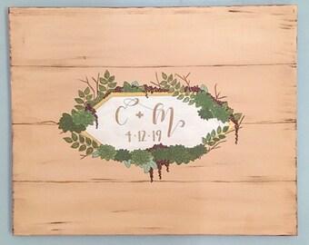 Wedding guestbook, alternative guestbook, wooden palette, rustic decor, signatures, succulents, minimalist, customize, initials, handpainted