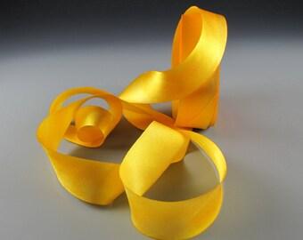"1"" JEWEL GOLD YELLOW Handpainted Silk  Satin Ribbon Dandelion Hanah 3 yd length"