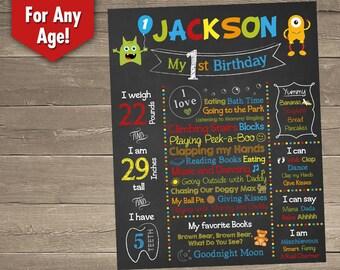 Little Monster 1st Birthday, Little Monster First Birthday Chalkboard, Printable Chalkboard Sign