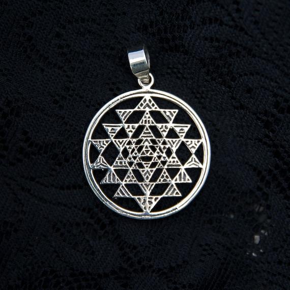 Silver sri yantra pendant shree shri sterling silver necklace mozeypictures Choice Image