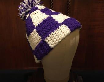 Crocheted winter hat, purple and white checks