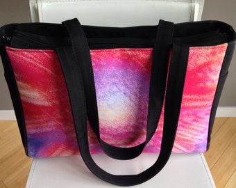 Gym Bag - Women's Zippered Workout Tote.  Shown in Pink Splash Image.  Hot Pink, Purple, Yellow.  Abstract Photography.