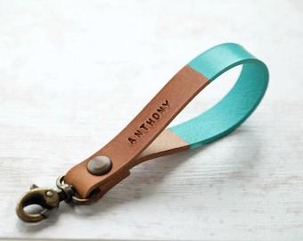 Leather Keychains Personalized - Turquoise Leather Keychain - Custom Christmas Gift - Monogram Key Fob Key Ring- Christmas Gift for Women -