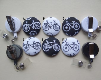 Retractable Badge Holder - Fabric Covered Button - Bike Minded