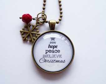 Christmas Necklace - Christmas Tree In Words - Joy Hope Peace Believe Christmas - Text  Pendant - Word Jewelry - Holiday Gift