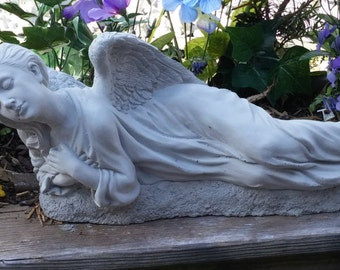 Large Concrete LAYING ANGEL Statue