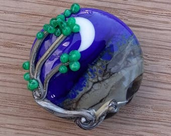 Lampwork glass lentil focal bead, 'Windy tree on a new moon night'. SRA