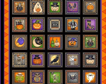 "Halloween Fabric: Quilting Treasures Creepy Hollow Halloween Symbol Blocks 100% cotton fabric by the PANEL 24""x43"" (QT391)"