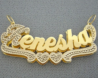 Large Personalized 10K or 14K Gold 3D Double Plates 2 Inches Name Pendant Custom Made Charm ND19