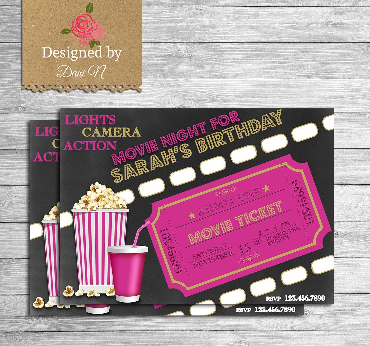 Movie birthday invitation movie night party invite outdoor zoom stopboris Image collections