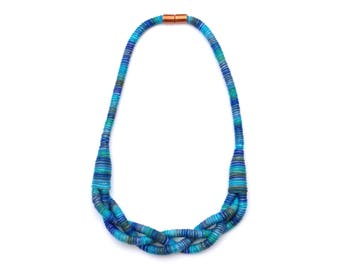 Blue Mixed Braided Cotton Necklace, Fabric Rope Necklace, Colorful Textile Statement Necklace, Mothers Day Necklace, Spring Jewelry