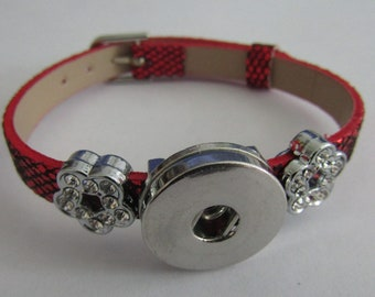 pressure bracelet, red glittery bracelet, for pressure 18 / 20mm