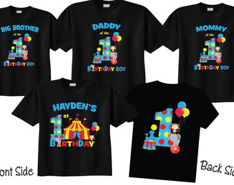 1st Birthday Shirts with Circus Family Birthday Shirts with Circus on BLACK Shirts DkjCtMDJ