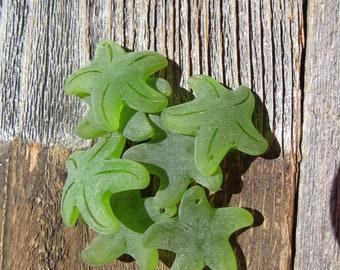 Sea Glass Large Starfish Pendant 32mm - Olive Green