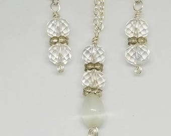 White Jade Earrings and Necklace set