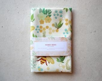 Honey Bees Illustrated Tea Towel