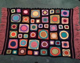 1970's Colorful Granny Square Wall Hanging Hipster