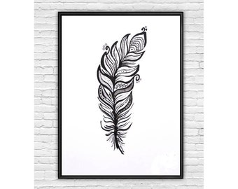 Feather Art Print, Black and White Art, Modern Art, Feather Illustration, Print from Original Acrylic Painting, Wall Decor, Home Decor