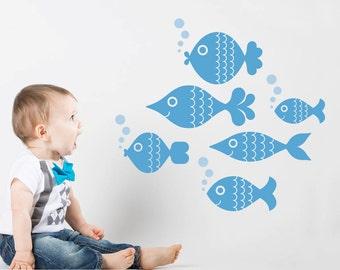 Ocean Big Fish Wall Decal Stickers, Kids Underwater Sea Life Nursery Under the Sea Baby Nautical Aquarium Room Decor: SWIM LEFT