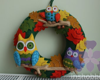 Autumn Owls Felt Wreath