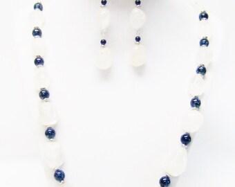 White Ice Gemstone Nugget Glass Beads Necklace/Bracelet/Earrings