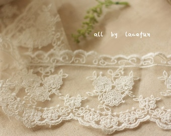 ivory Lace Trim, Embroidered tulle lace, retro Florals lace fabric, wedding trim lace, vintage lace