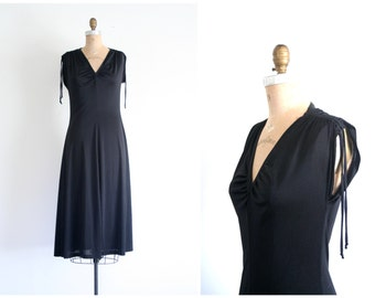black polyester 70s dress - vintage disco dress / long black dress - witchy dress / 1970s black polyester dress - Halloween costume