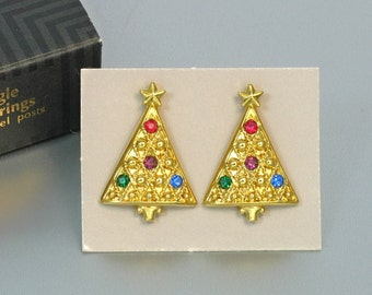 1992 Vintage AVON 'Tree Dangle' Pierced Earrings with Original Box. Christmas Tree Earrings. Vintage Holiday Earring. Avon Holiday Jewelry