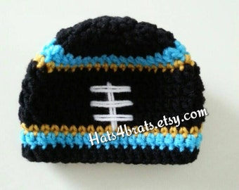 Jacksonville Jaguars Baby Hat, Crochet Jaguars Hat, Jaguars Crochet  Football Hat, Newborn Jaguars Photo Prop, Crochet Football Hat, Baby