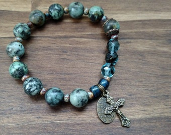 """African Turquoise Jasper Stone Rosary Bracelet, 7"""", Crucifix and Miraculous Medal"""