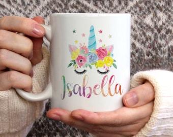 Watercolour Unicorn Personalised Name Mug, unicorn mug, gift for her, dishwasher safe, Unicorn Gift, Gift for Women, Coffee Mug, Funny Mug