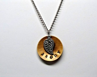 Personalized Hammered Pendant with Leaf Necklace