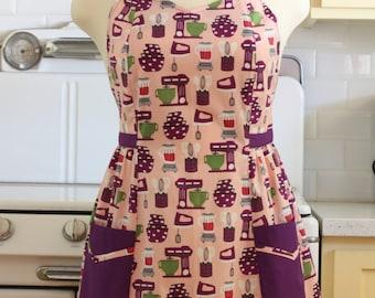 Retro Apron Plus Size Sweetheart Neckline Baking Theme Pink and Purple BETTY