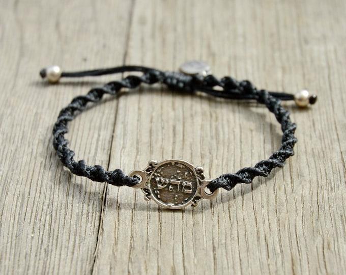 72 Names of God Charm Hand Woven Black Bracelet for Good Health - Adjustable