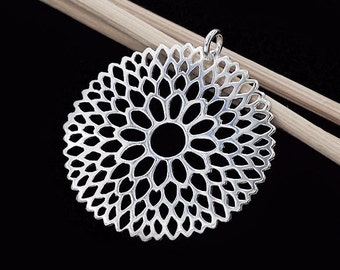 1 of 925 Sterling Silver Filigree Flower Pendant 30 mm. Polish Finished  :th2442