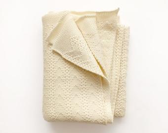 Merino Baby Throw Blanket - Merino wool knit blanket - Natural Baby Blanket, Baby wrap - Milk white