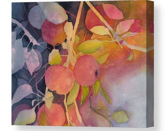 Mother's Day Gift Idea Autumn Apples Watercolor Canvas 8x10 Print and 11x14 Print from Original Art