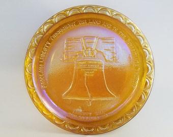 Indiana Glass Bicentennial Carnival Glass Plate - Liberty Bell - Gold
