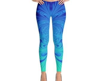 Shades of Blue Swirls Women Leggings